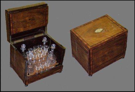 96: 19th C. Burled Walnut Inlaid Crystal Tantalus Set