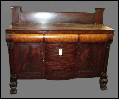 102: American Empire Acanthis Carved Sideboard