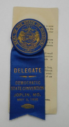 1936 Missouri Democratic Convention Delegate Badge