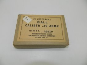 20 Cartridges Ball Caliber .30 Anm2 Winchester-western