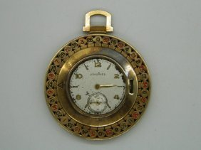 Longines 14k Yellow Gold And Enamel Roulette Pocket