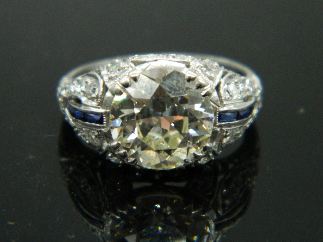 Early Art Deco 3.14 ct Euro Cut Platinum & Diamond Ring