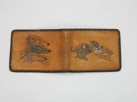 San Mateo Prison Made Folk Art Greyhound Leather Wallet