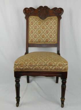Gorgeous Victorian Carved & Upholstered Parlor Chair