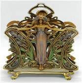 Art Nouveau Cast Maiden Lady Desk Letter Holder