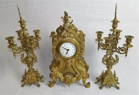 Imperial Garniture Set Mantel Clock and Candelabras