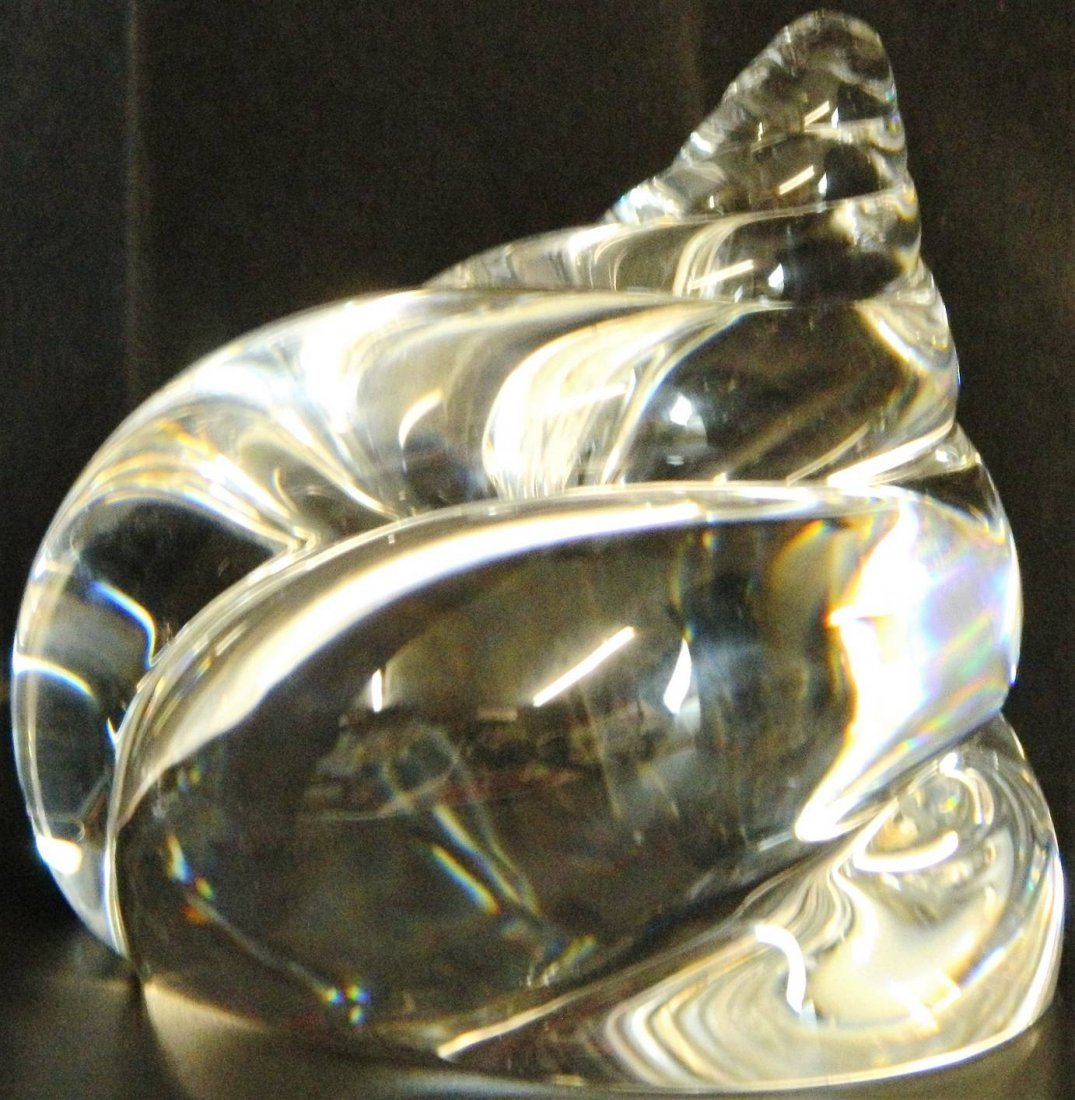 Steuben Signed Spriraled Crystal Conch Seashell - 2