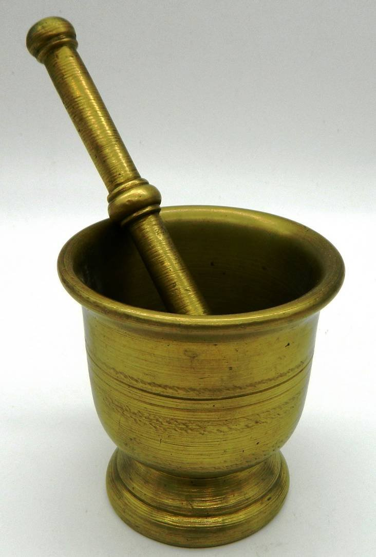 Apothecary Antique solid brass Mortar & Pestle