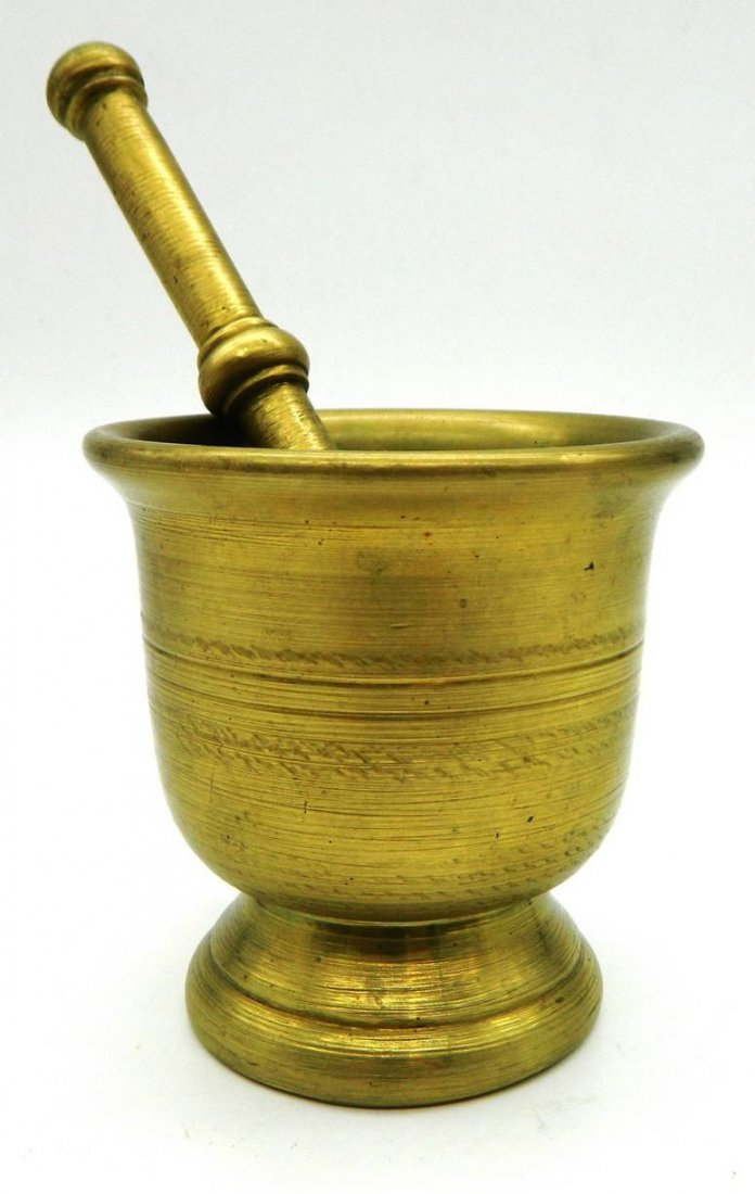 Apothecary Antique solid brass Mortar & Pestle - 2