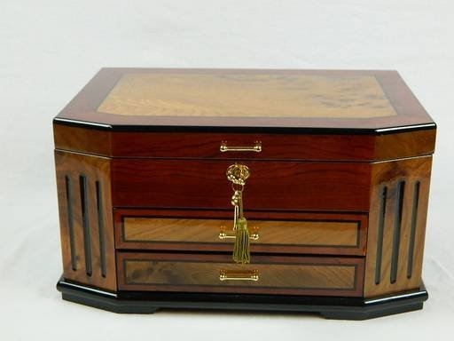 Constantine Jewelry Box, Chest, Two Tone Cherry