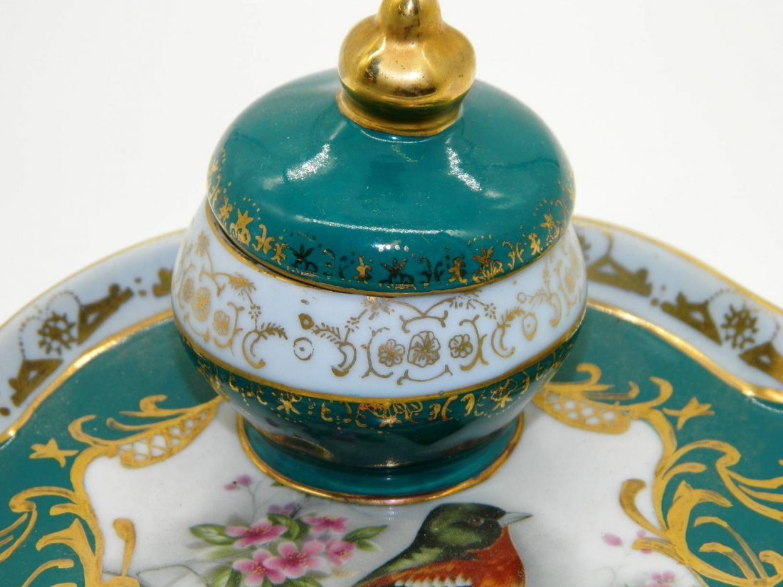 Hand Painted Porcelain Inkwell - 2