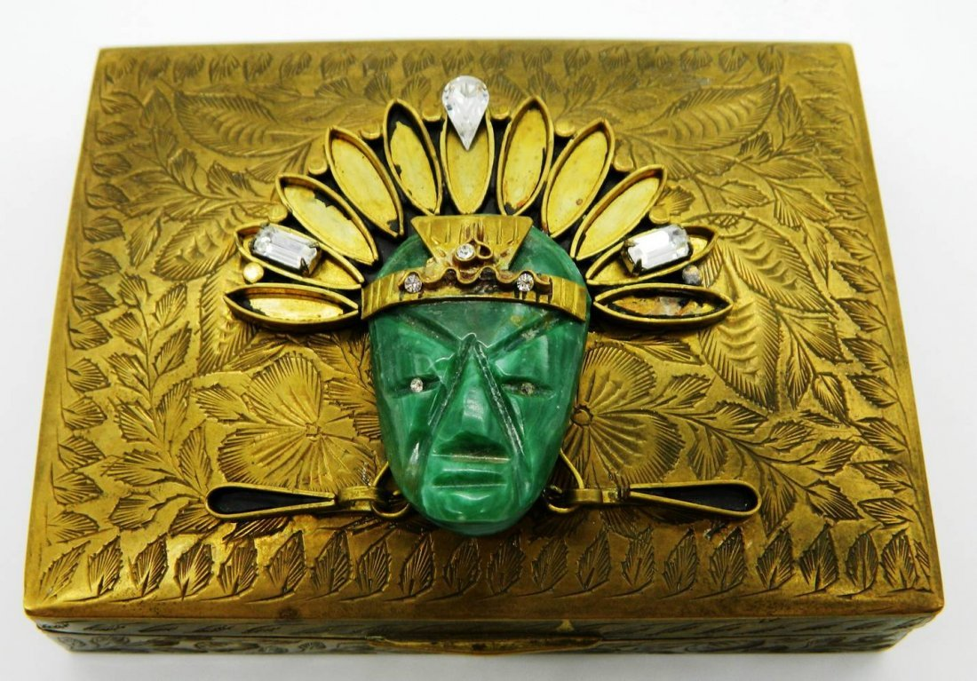Vintage Brass Playing Card Box with Aztec Mask Face