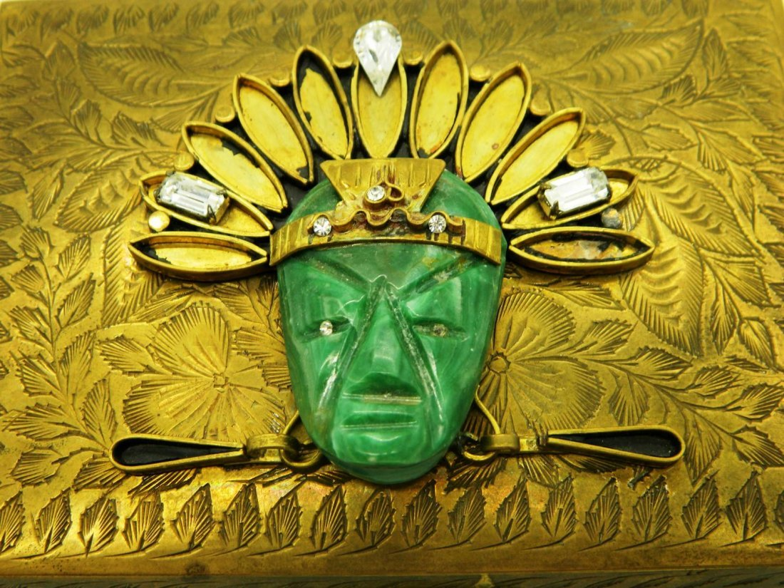 Vintage Brass Playing Card Box with Aztec Mask Face - 2