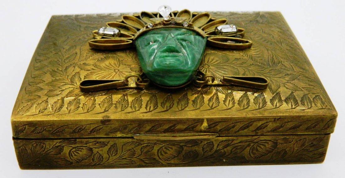 Vintage Brass Playing Card Box with Aztec Mask Face - 3