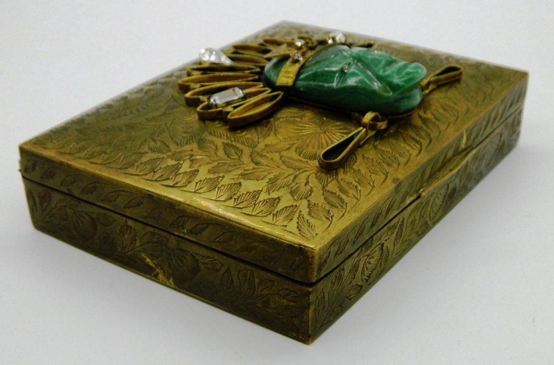 Vintage Brass Playing Card Box with Aztec Mask Face - 4