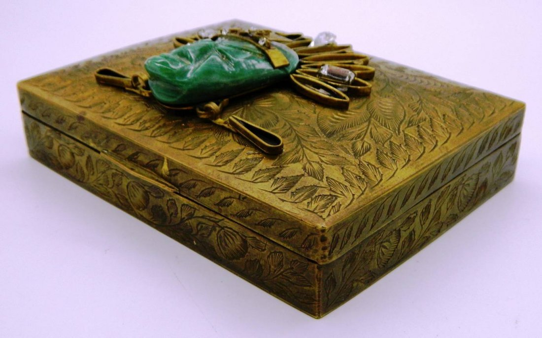 Vintage Brass Playing Card Box with Aztec Mask Face - 5