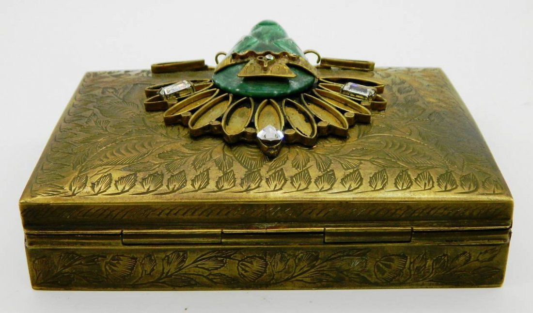 Vintage Brass Playing Card Box with Aztec Mask Face - 6