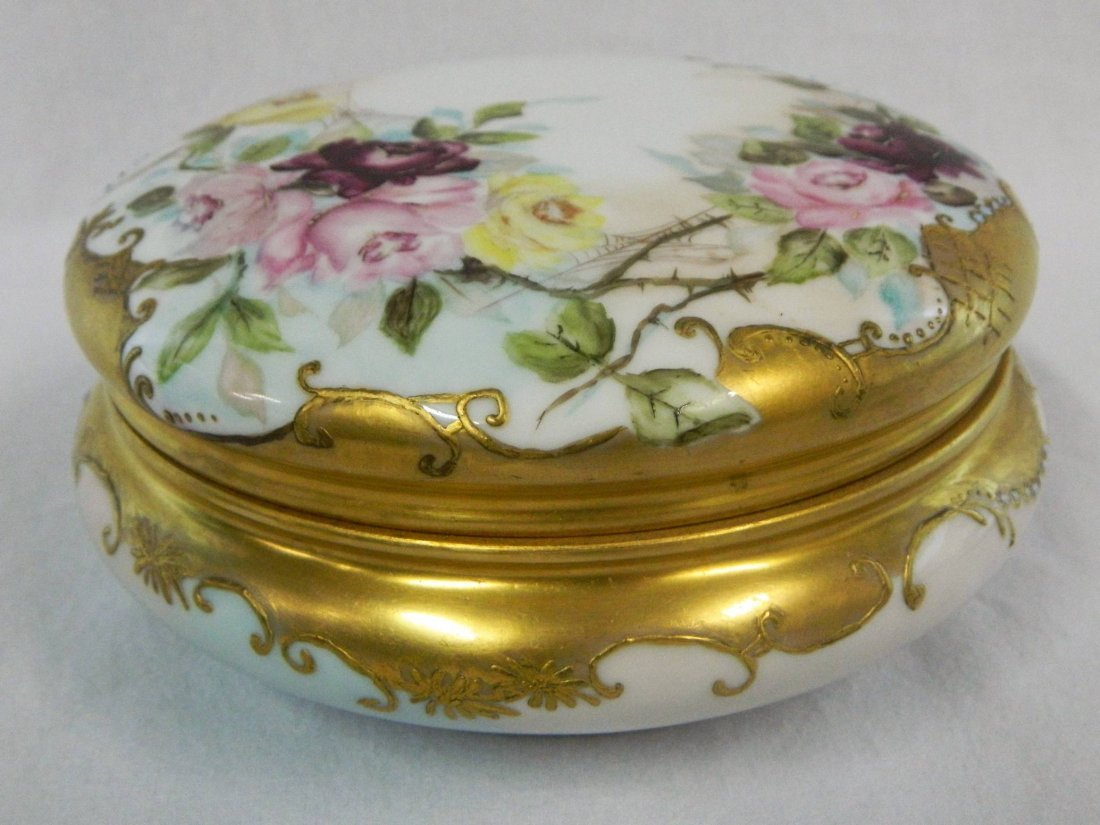 Large Limoges Porcelain Victorian Dresser Powder Box