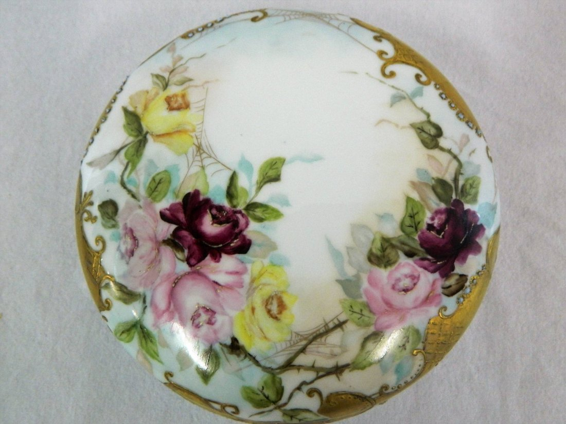 Large Limoges Porcelain Victorian Dresser Powder Box - 2