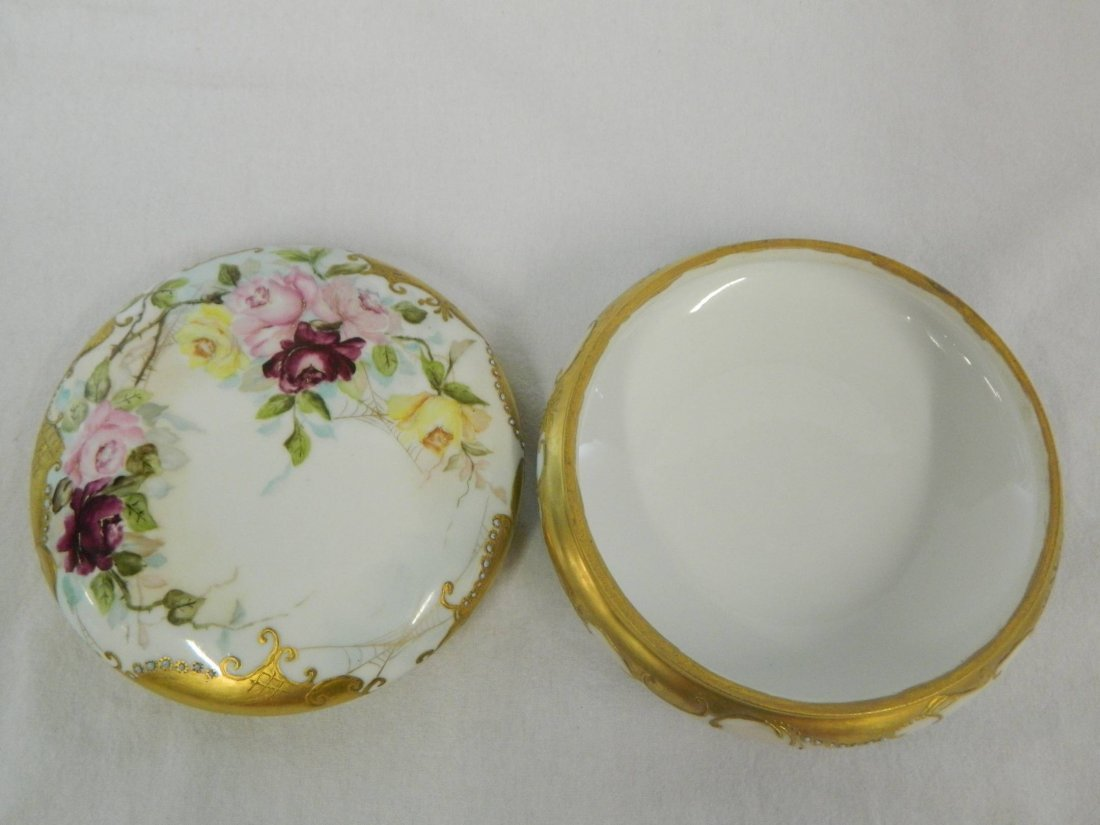 Large Limoges Porcelain Victorian Dresser Powder Box - 6