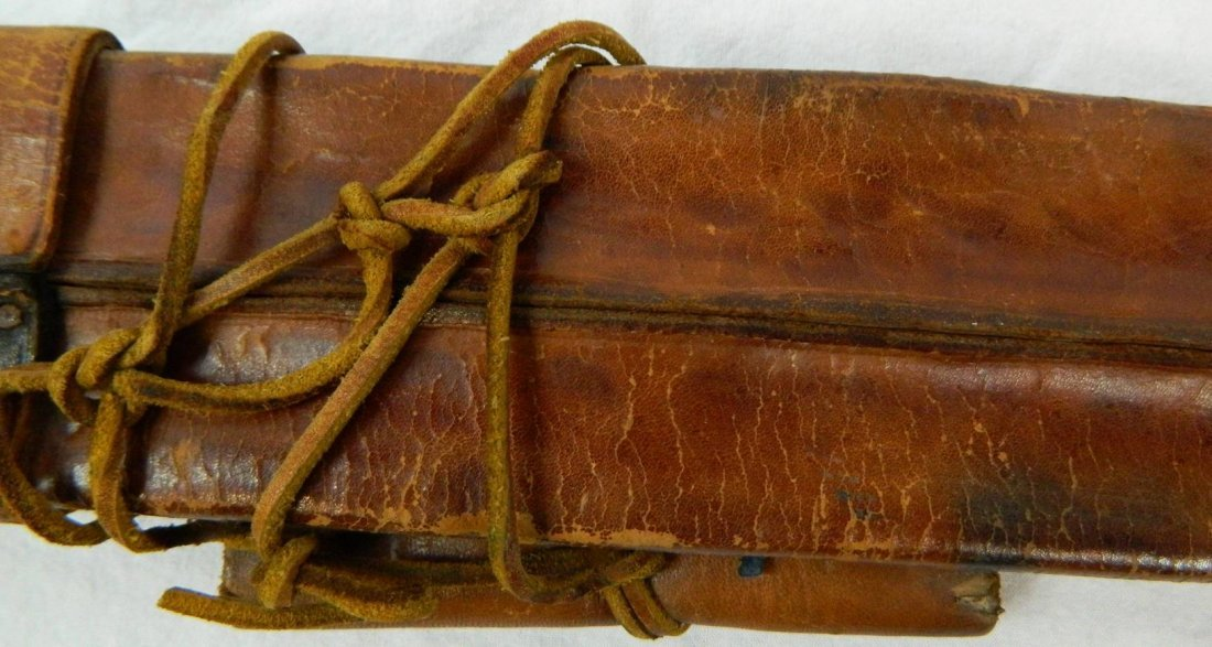 19th. C. Middle Eastern Leather Dual Decorative Sheath - 10