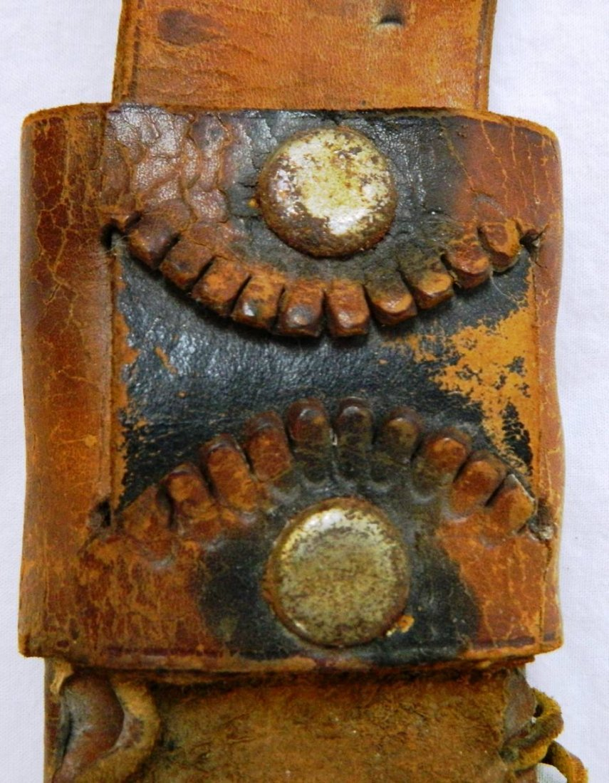 19th. C. Middle Eastern Leather Dual Decorative Sheath - 4