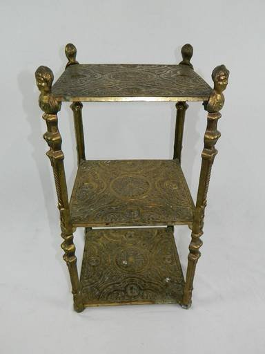 Vintage Cherub Three Tier Brass Shelf Table With Art