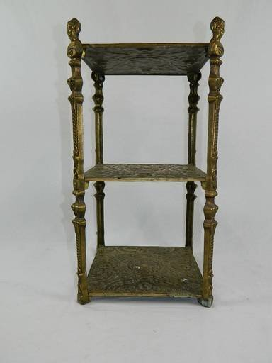 Vintage Cherub Three Tier Brass Shelf Table With Art - 2