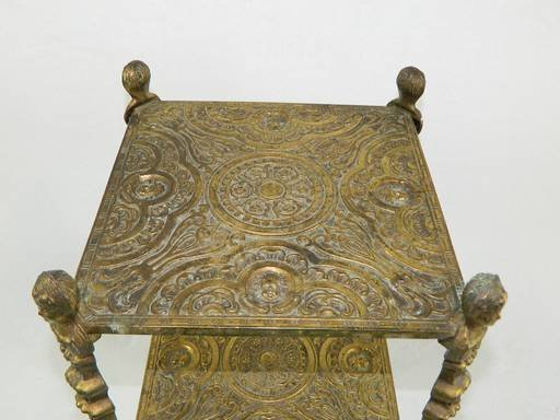 Vintage Cherub Three Tier Brass Shelf Table With Art - 3