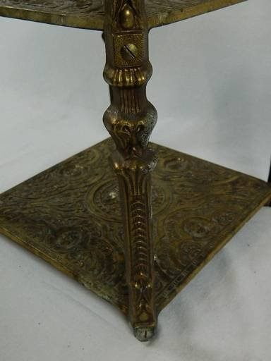 Vintage Cherub Three Tier Brass Shelf Table With Art - 9
