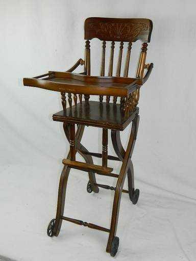 - Rare Antique Eastlake Oak Folding High Chair & Stroller