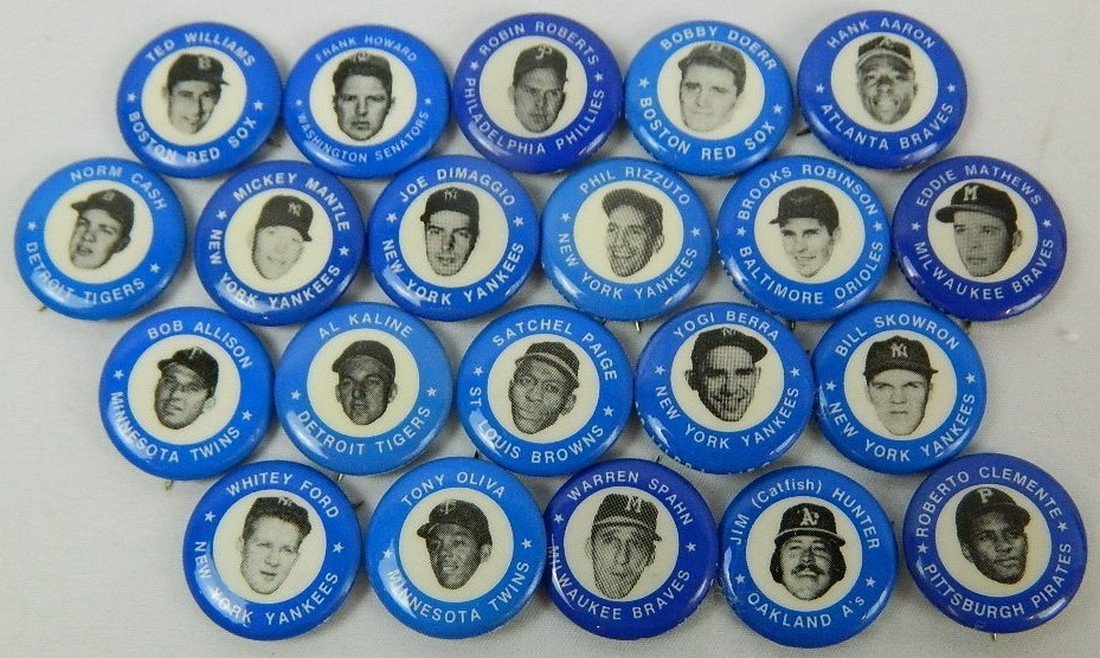 Lot of 21 Blue Vintage Baseball Pinbacks
