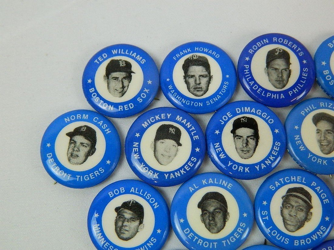 Lot of 21 Blue Vintage Baseball Pinbacks - 2