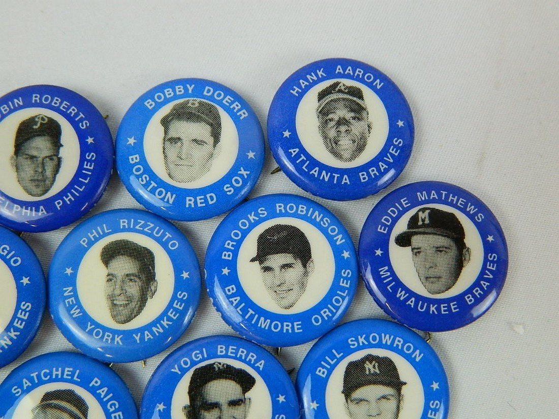 Lot of 21 Blue Vintage Baseball Pinbacks - 3