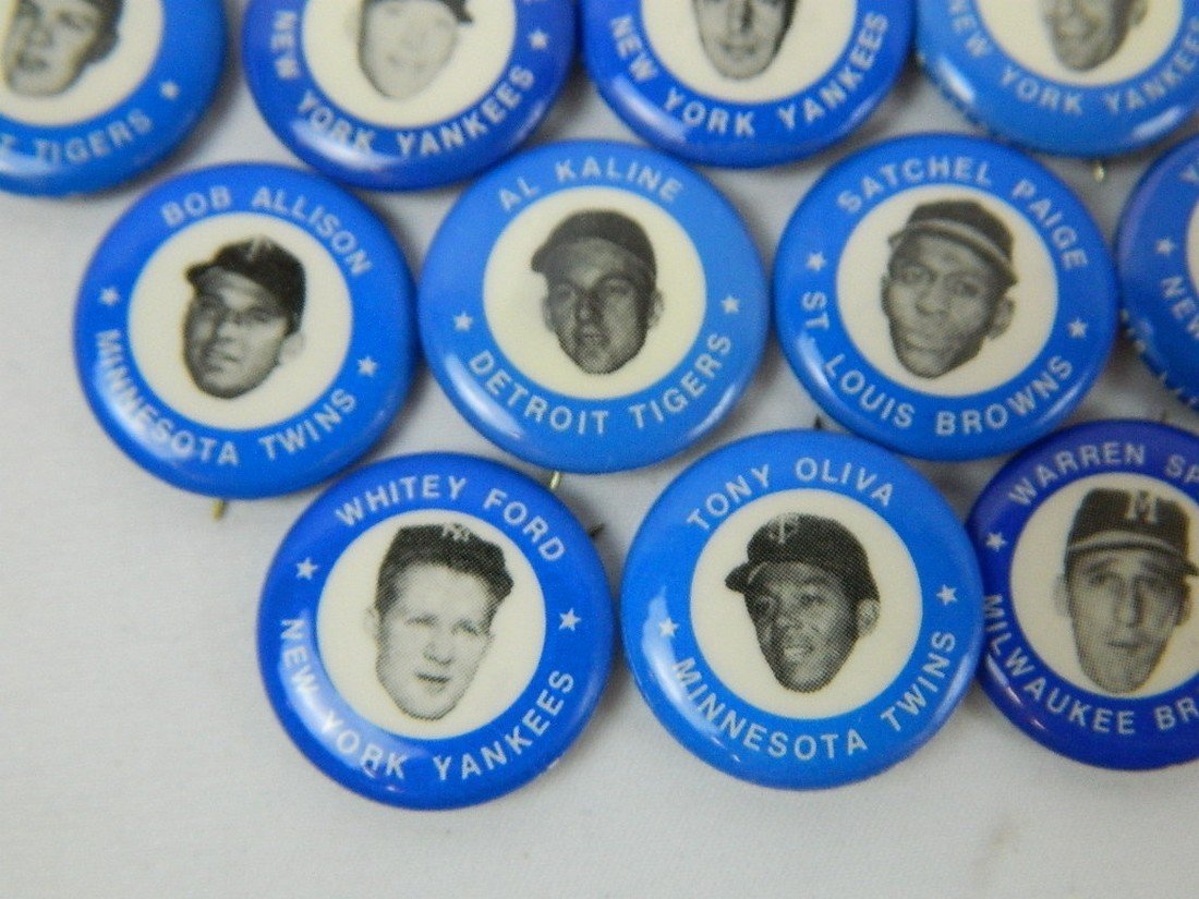 Lot of 21 Blue Vintage Baseball Pinbacks - 4
