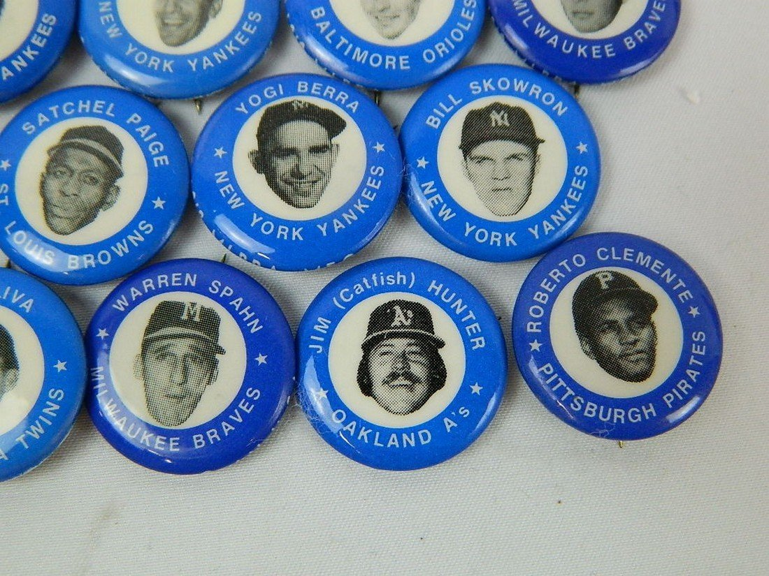 Lot of 21 Blue Vintage Baseball Pinbacks - 5