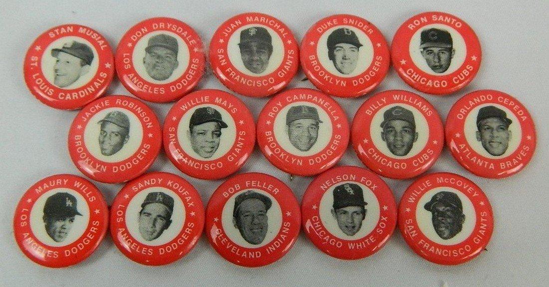 Lot of 15 Red Vintage Baseball Pinbacks