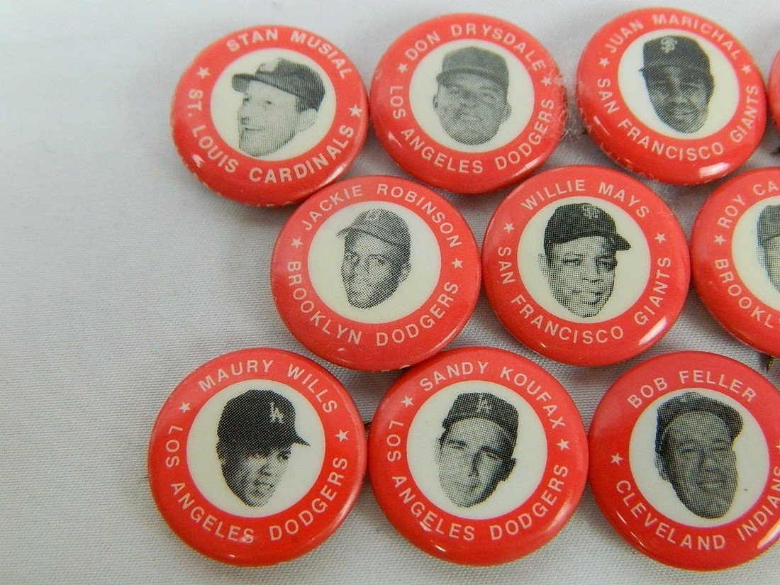 Lot of 15 Red Vintage Baseball Pinbacks - 2
