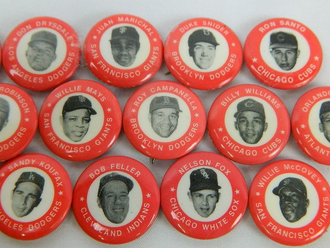 Lot of 15 Red Vintage Baseball Pinbacks - 3