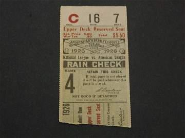 1926 World Series Game 4 Ticket Babe Ruth 3HR