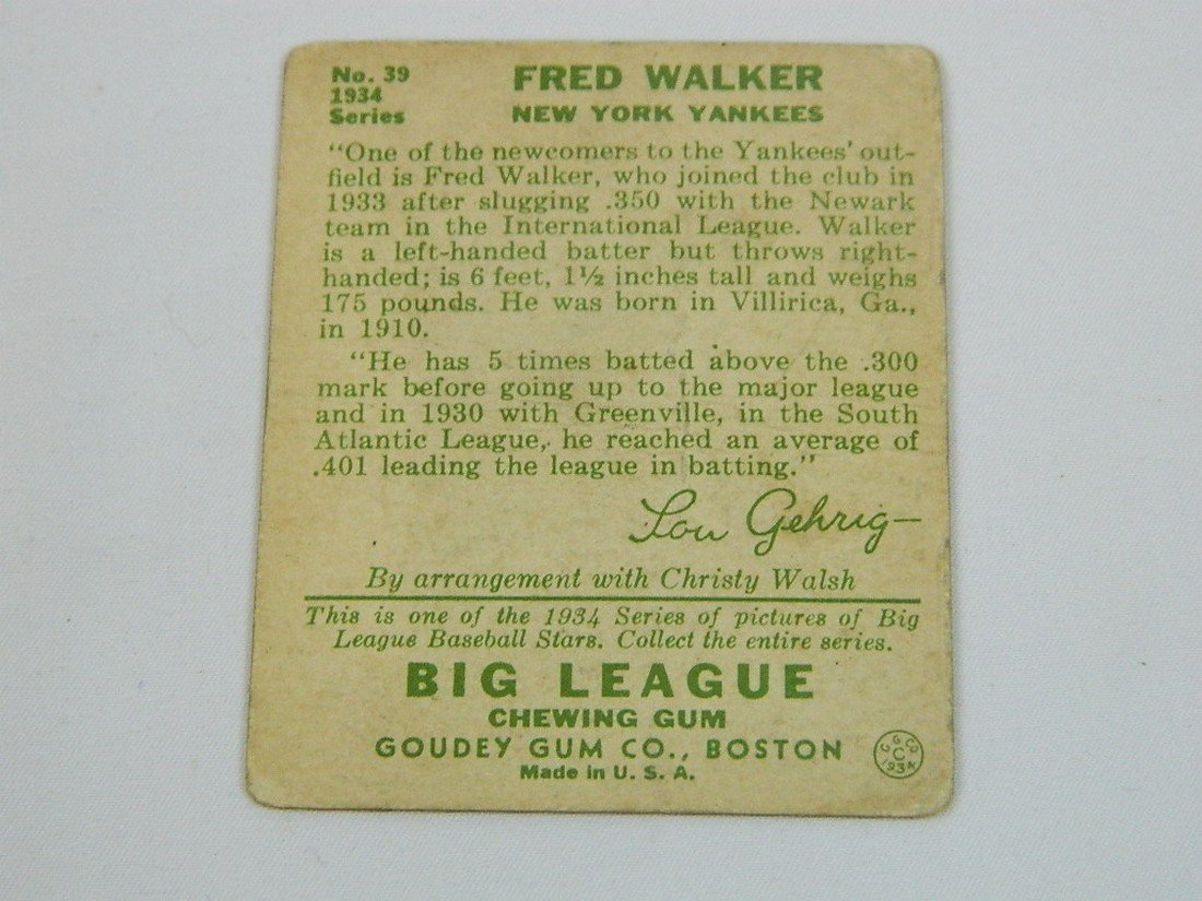 "1934 Goudey Gum Co #39 Fred ""Dixie"" Walker - 4"