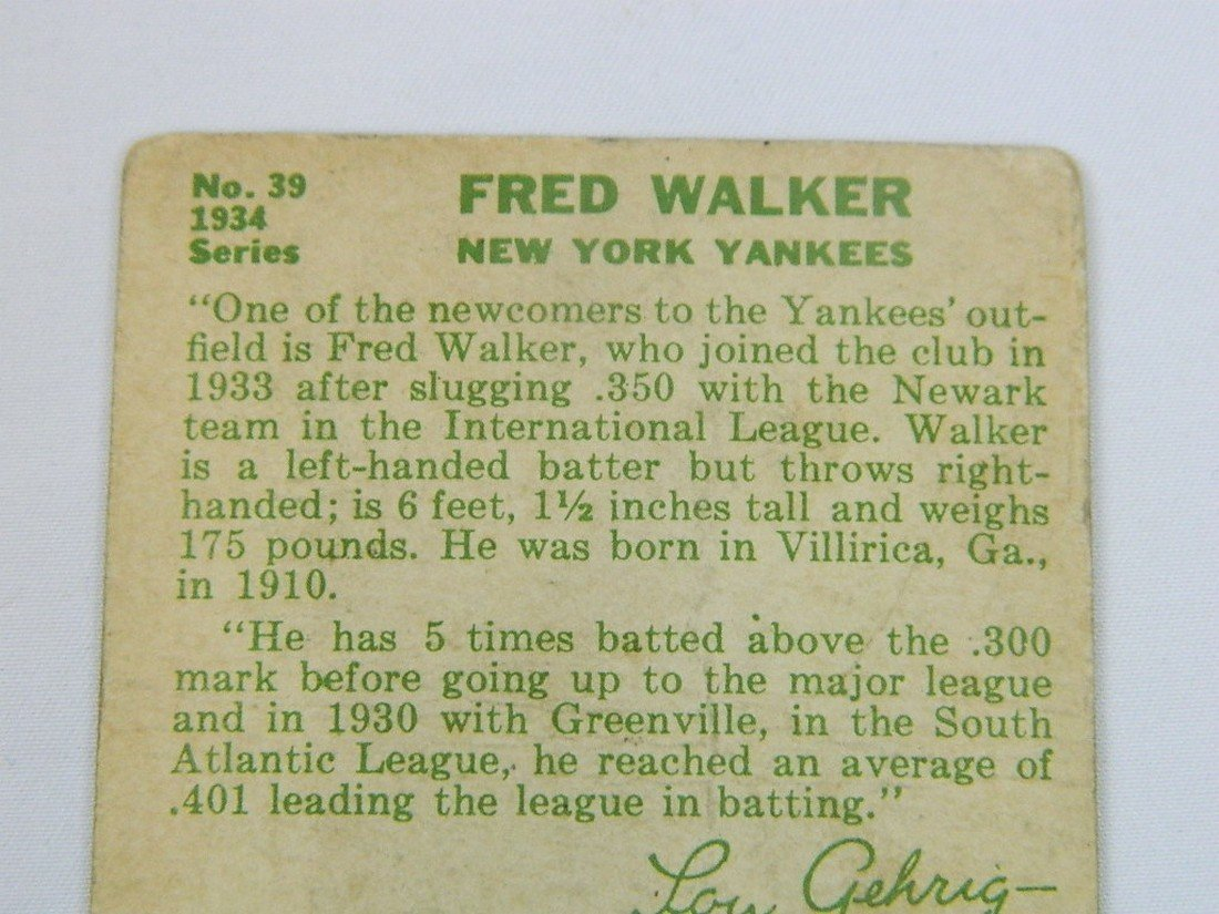 "1934 Goudey Gum Co #39 Fred ""Dixie"" Walker - 5"
