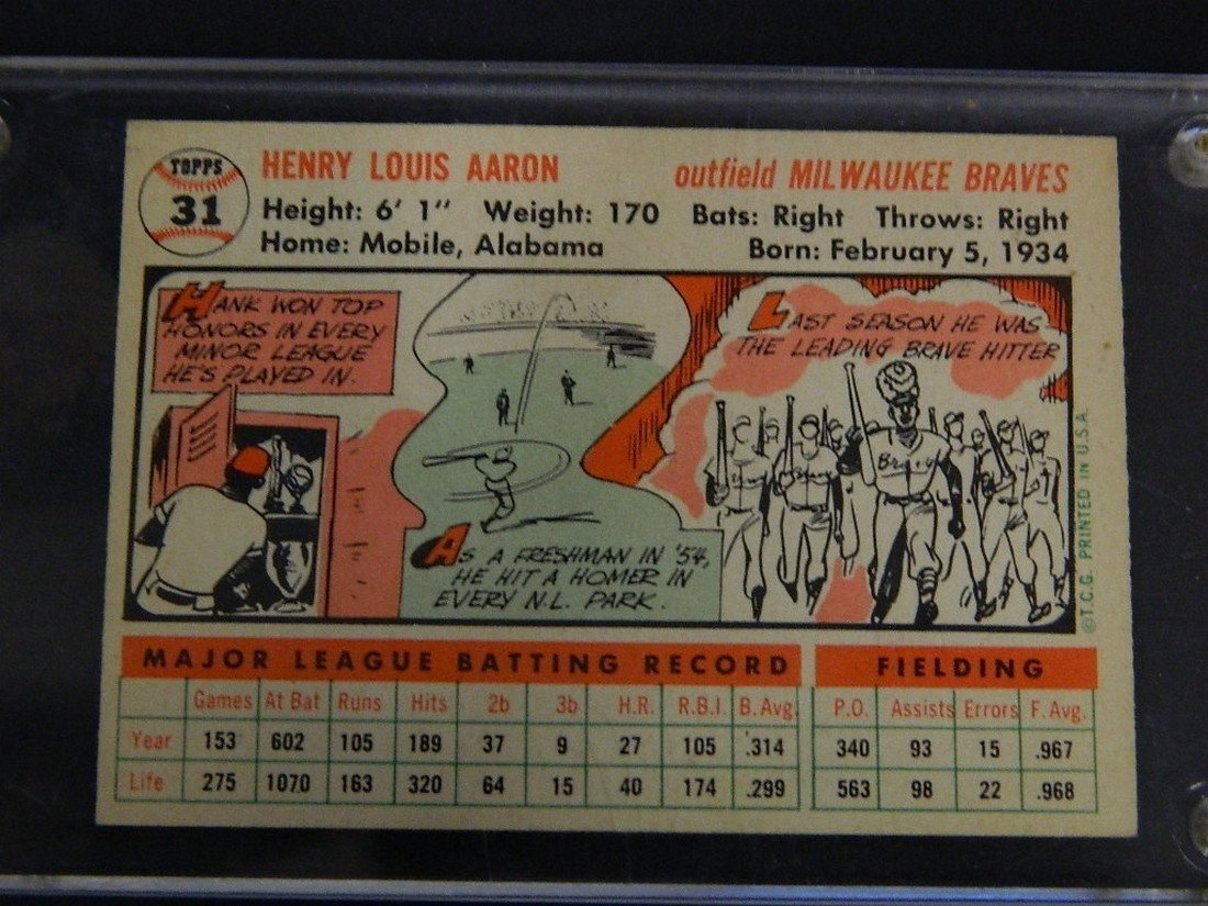 1956 Topps Hank Aaron #31 Baseball Card - 7