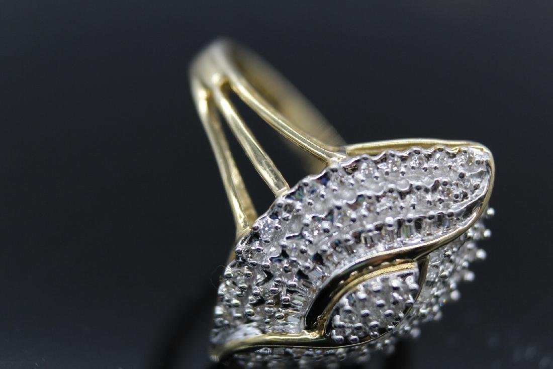 10K Diamond  Egyptian Eye Cocktail Ring - 6