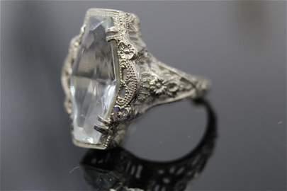 14K White Gold Art Deco 4 CTW + Aquamarine Ring