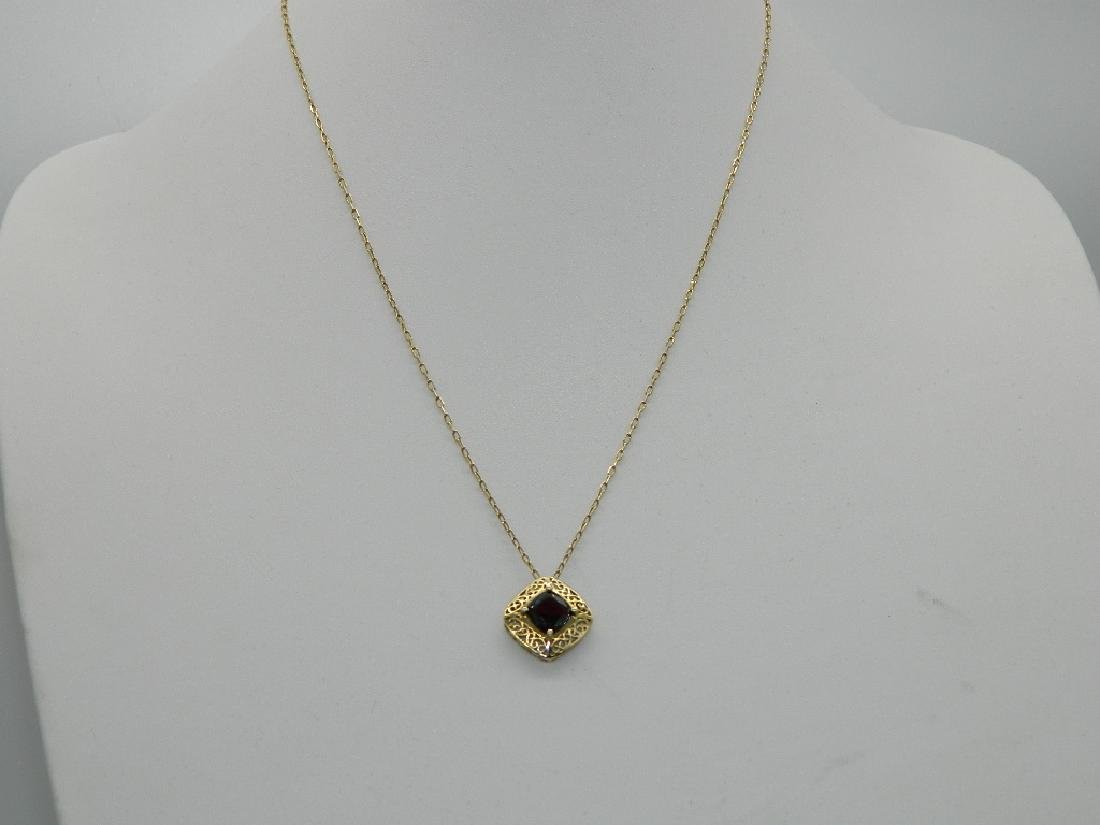 18K Yellow Gold  Natural 1.5ctw +  Garnet Pendant & - 3