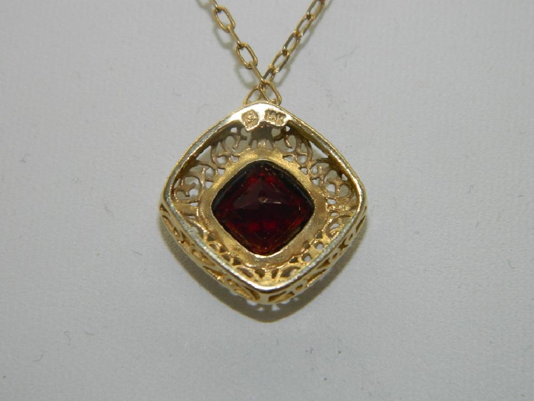 18K Yellow Gold  Natural 1.5ctw +  Garnet Pendant & - 4