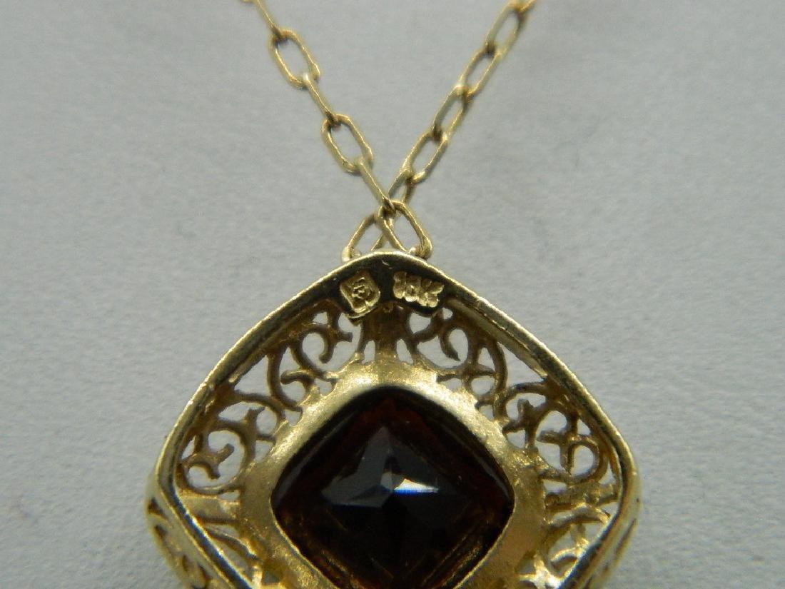 18K Yellow Gold  Natural 1.5ctw +  Garnet Pendant & - 5