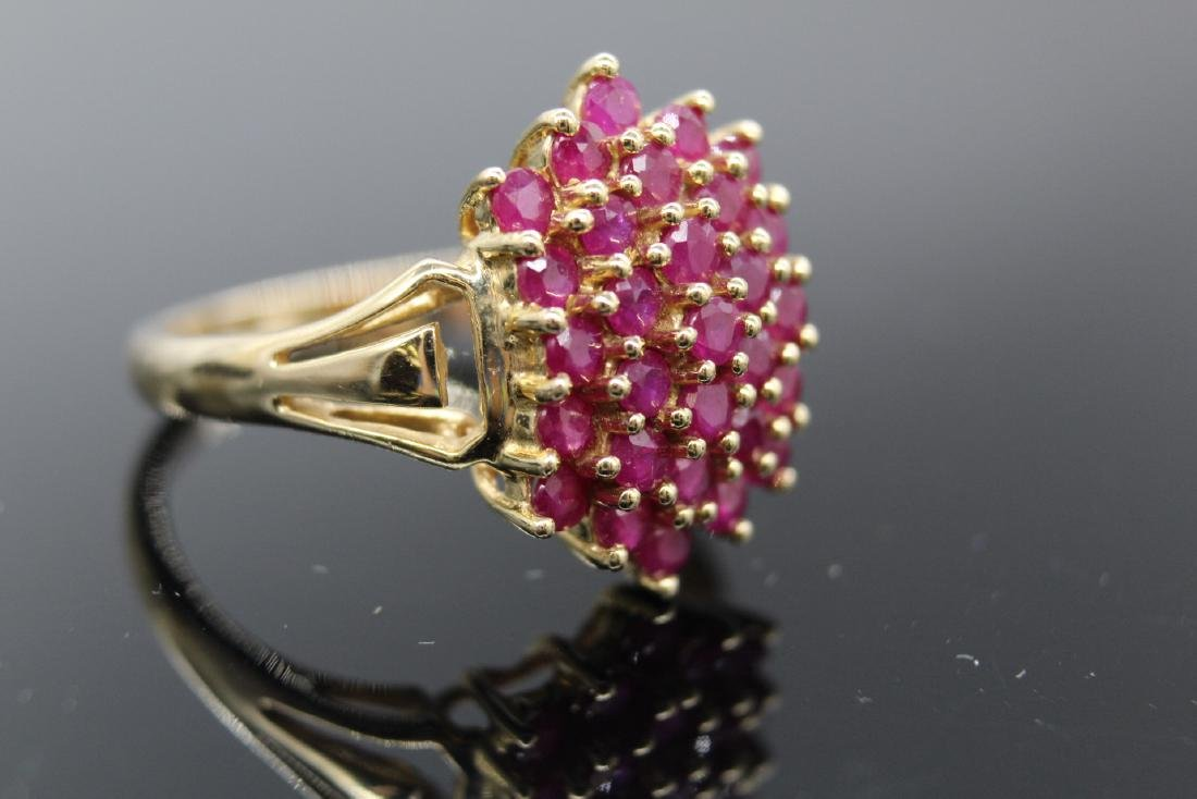 14K Yellow Gold Ruby Cluster Ring - 2