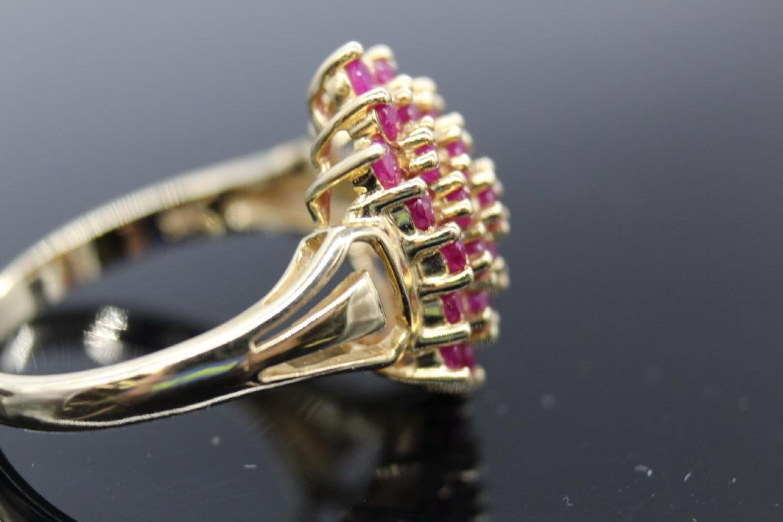 14K Yellow Gold Ruby Cluster Ring - 3